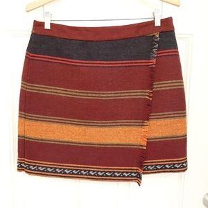 LOFT Southwestern Wool Blend Red Skirt